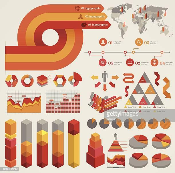 Orange and yellow infographic elements