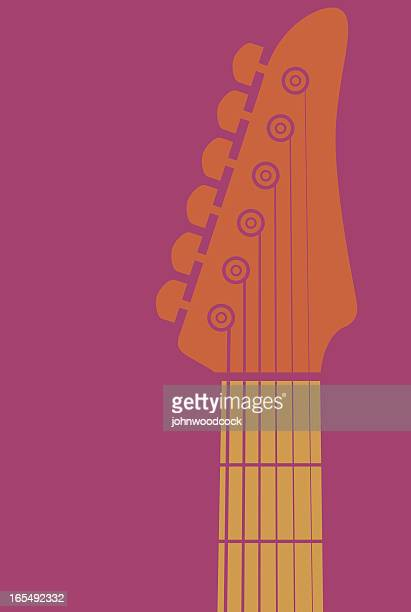 orange animated guitar's neck on a pink background - electric guitar stock illustrations