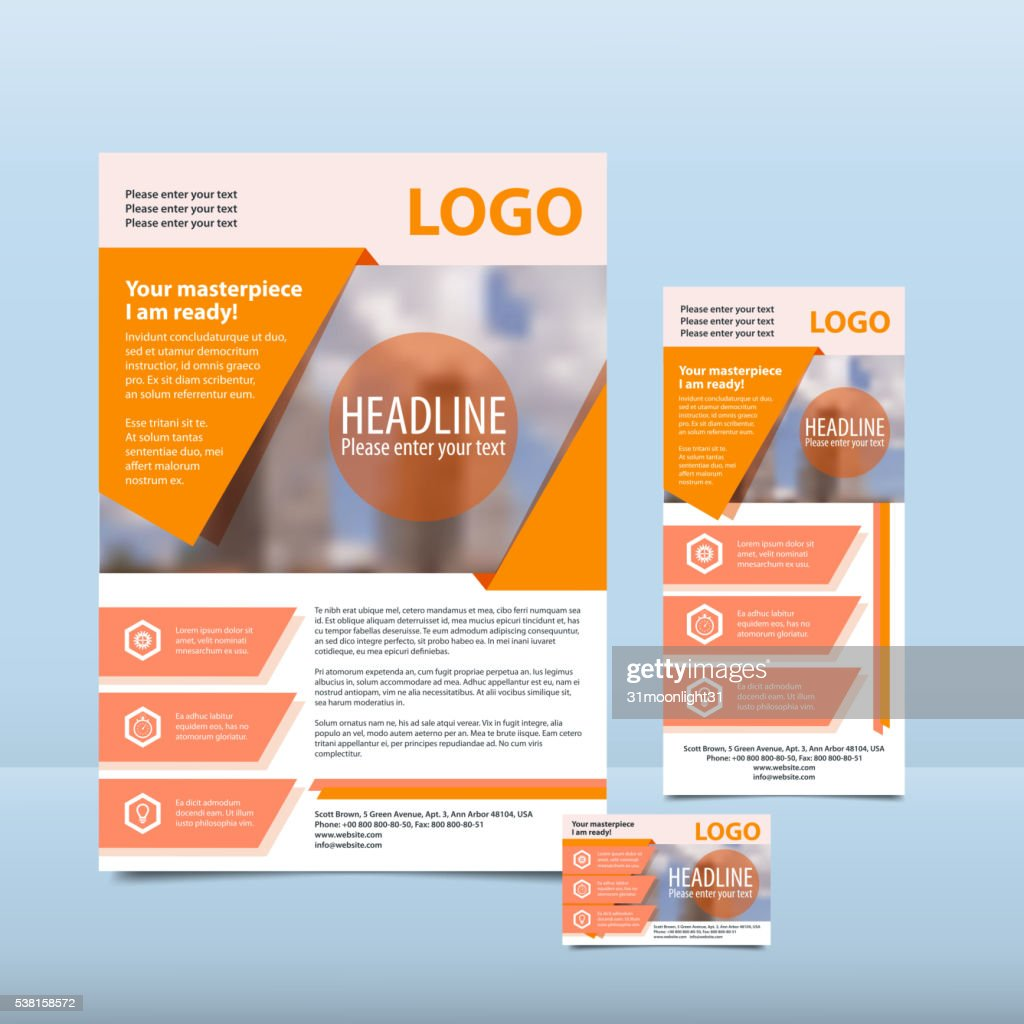 Orange annual report with the pattern brochure flyer business card