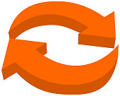 orange arrow eco recycling - 3D Illustration
