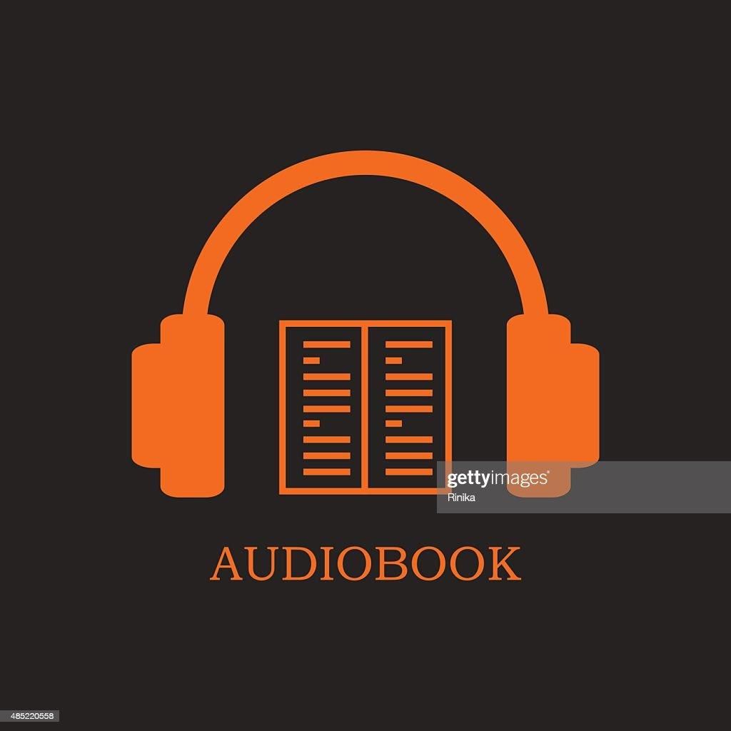 Orange audiobook icon on black