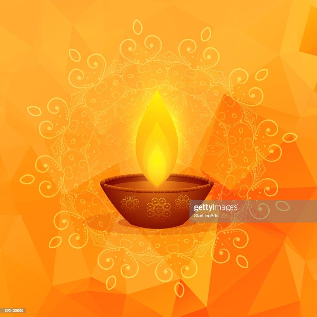 orange background with diwali festival diya and mandala decoration