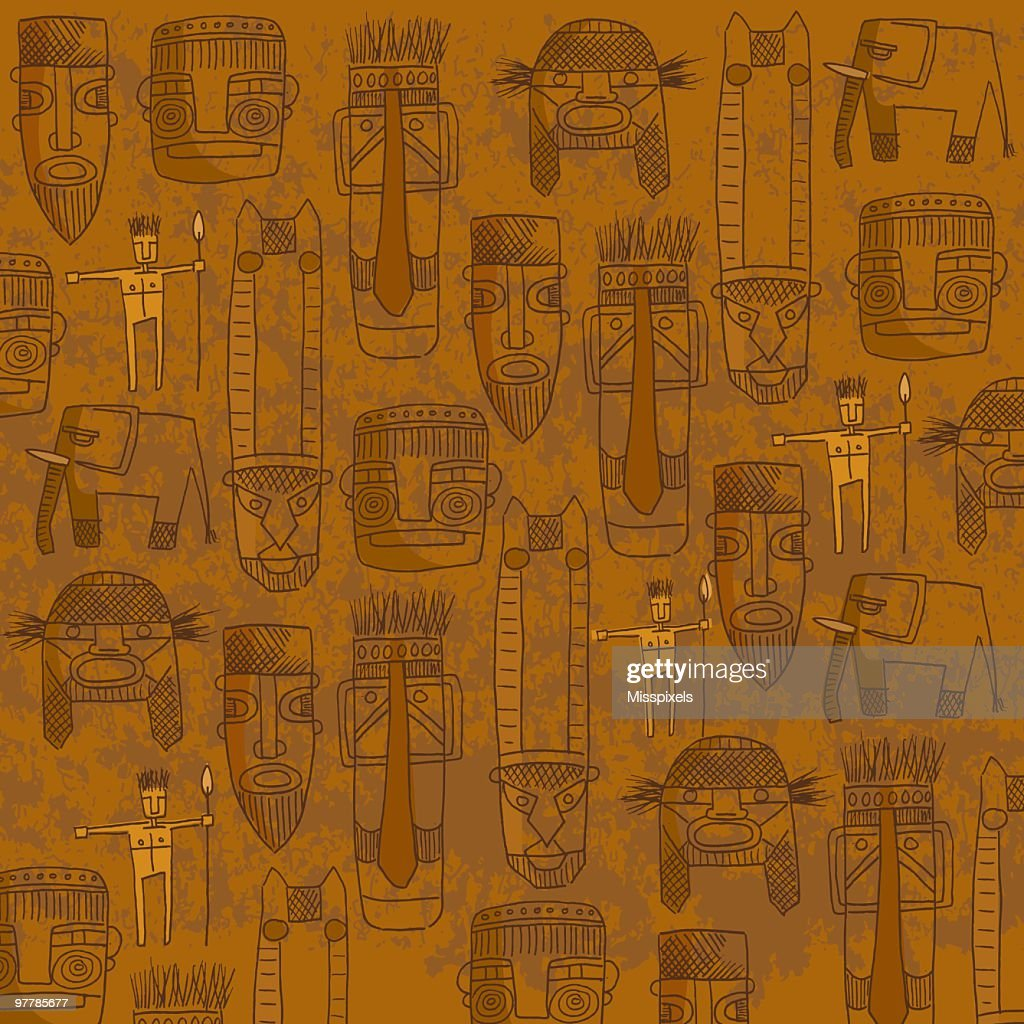 Orange background with sketches of tribal masks : stock illustration