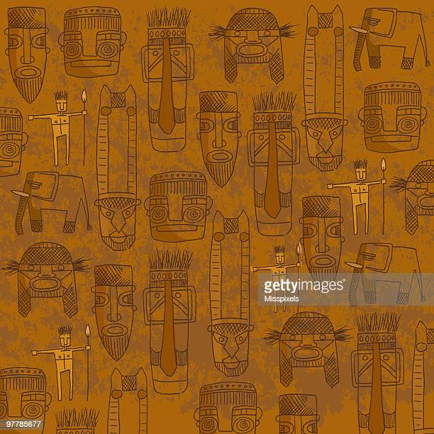 Orange background with sketches of tribal masks
