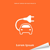 Orange banner with electric car icon