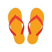 Orange beach slippers icon isolated on white background