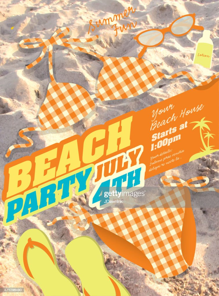 Orange Bikini and sand Beach party template invitation design