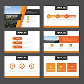 Orange Black presentation templates Infographic elements flat design set