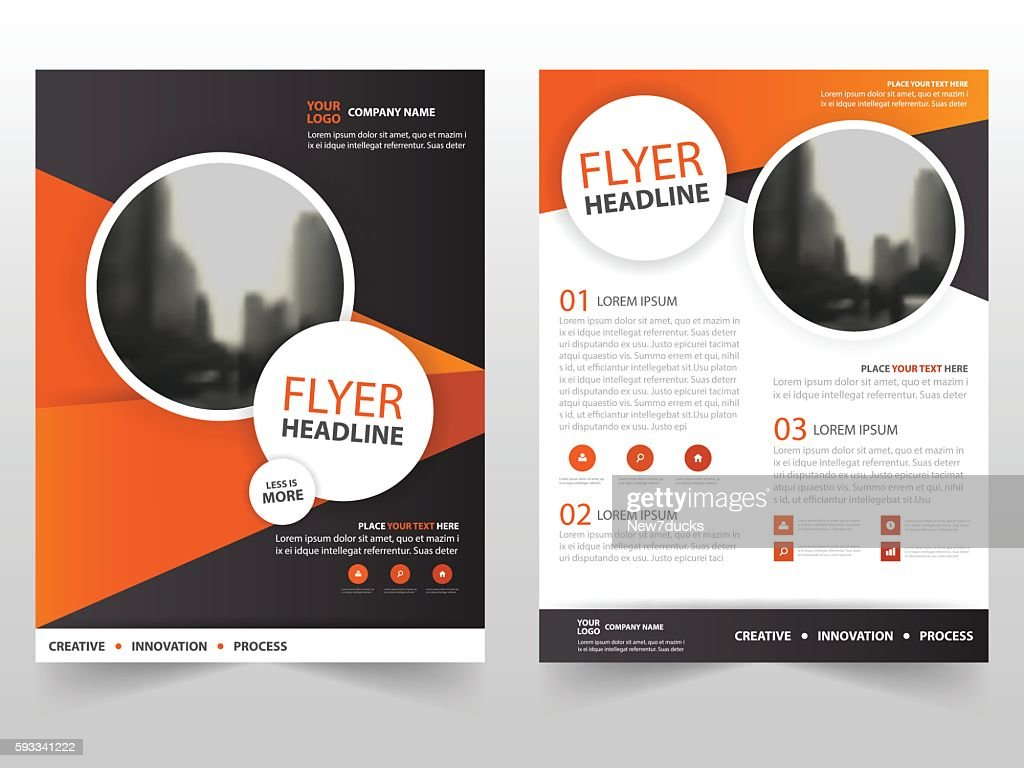 Orange Black Triangle Vector Brochure Leaflet Flyer Template Design