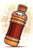 Orange Bottle with music symbol