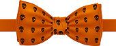 Orange bow tie with skulls pattern print.