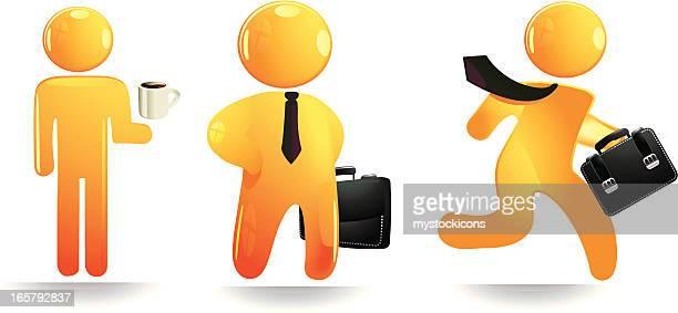orange business man - figurine stock illustrations, clip art, cartoons, & icons