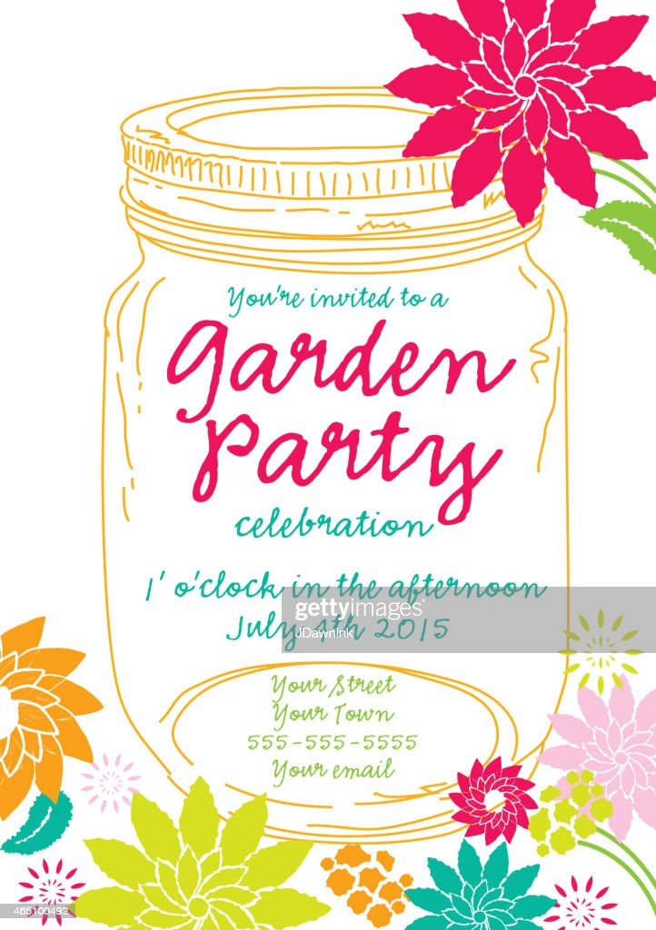 Orange canning jar spring garden party invitation design template orange canning jar spring garden party invitation design template vector art stopboris Image collections