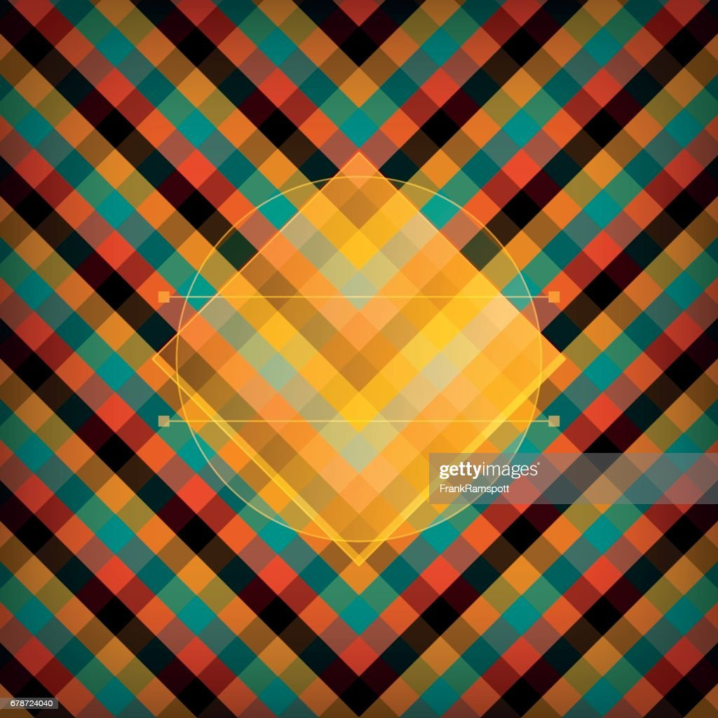 Orange Checked Vector Pattern : Stock Illustration