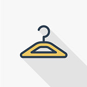 orange clothes hanger thin line flat color icon. Linear vector symbol. Colorful long shadow design.