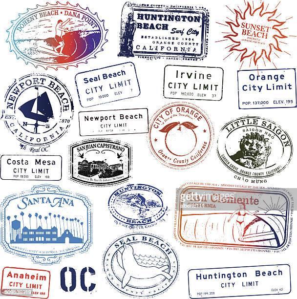 orange county california stamp collection - huntington beach california stock illustrations, clip art, cartoons, & icons