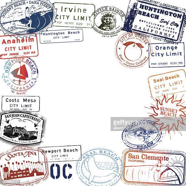 orange county california stamp set - huntington beach california stock illustrations, clip art, cartoons, & icons
