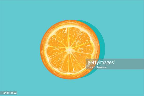 orange cut half - orange color stock illustrations