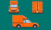 orange delivery pickup truck cab with car steel grating plastic top cover passenger front side back view transport chiang mai vector illustration eps10