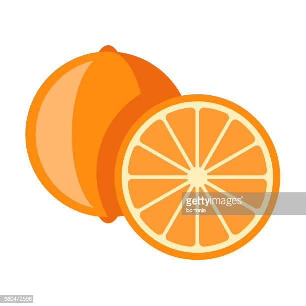 illustrazioni stock, clip art, cartoni animati e icone di tendenza di orange flat design fruit icon - arancione