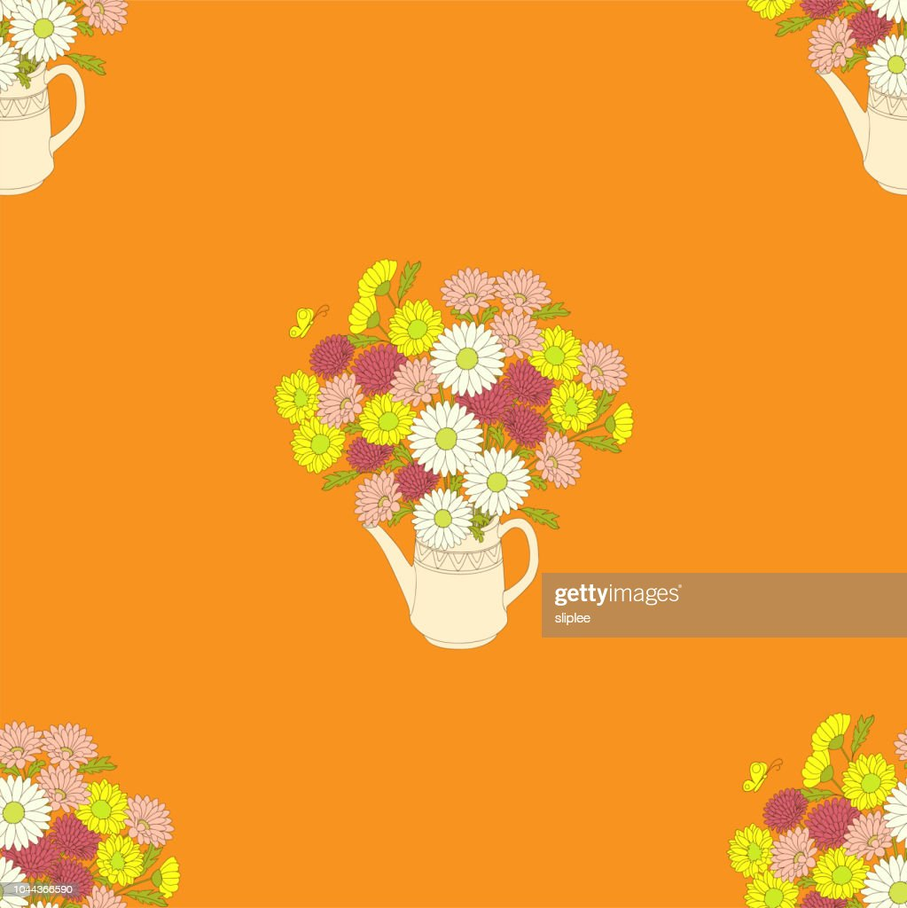 orange floral pattern with chrysanthemums in the teapot
