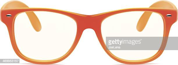 Orange framed glasses with no lenses