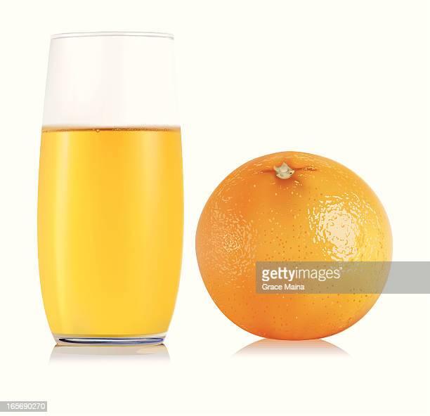 orange fruit and juice - vector - orange juice stock illustrations, clip art, cartoons, & icons