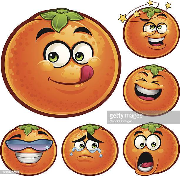 orange fruit cartoon set a - anthropomorphic foods stock illustrations, clip art, cartoons, & icons