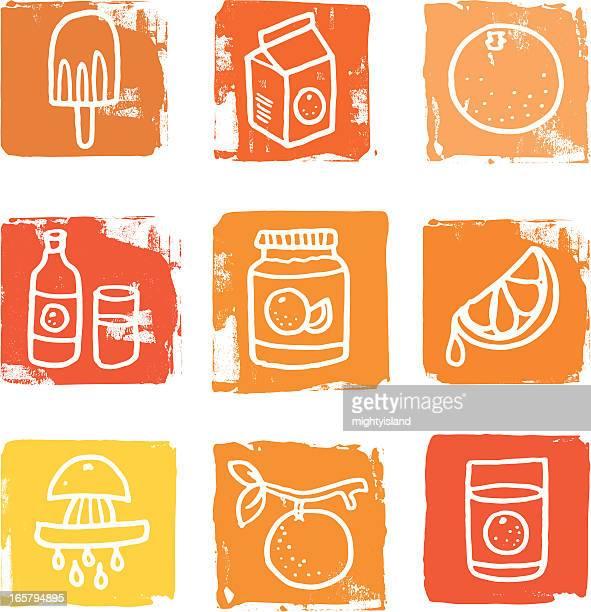 orange fruit icon blocks - marmalade stock illustrations, clip art, cartoons, & icons