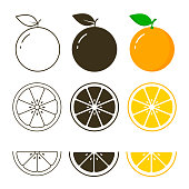 Orange fruit icon collection, vector outline and silhouette set, cut of orange