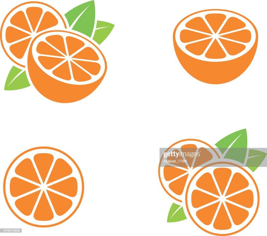 Orange fruit. Icon set. Cut oranges with leaves on white background