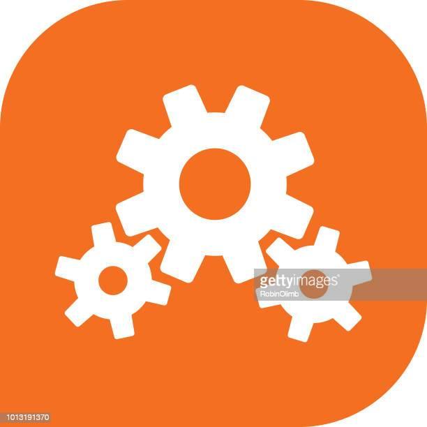 オレンジ色の歯車のアイコン - 組み合わさる点のイラスト素材/クリップアート素材/マンガ素材/アイコン素材