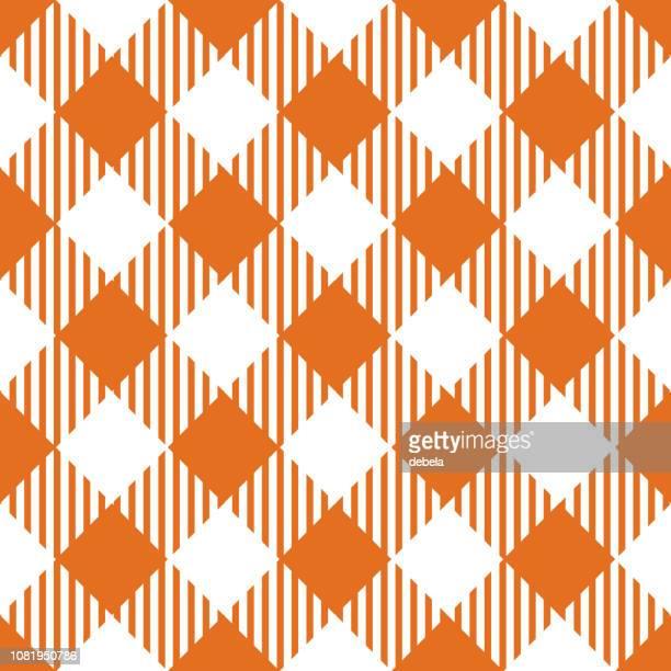 オレンジ ギンガム アーガイル パターン背景 - ギンガムチェック点のイラスト素材/クリップアート素材/マンガ素材/アイコン素材