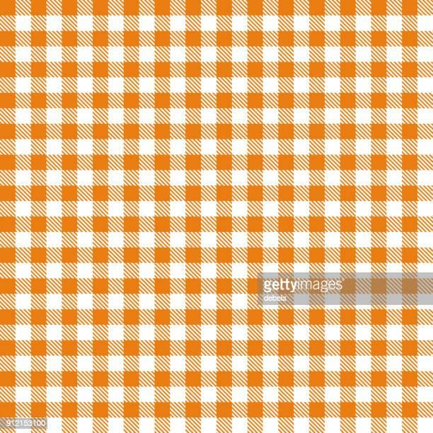 オレンジ ギンガム布生地パターン - ギンガムチェック点のイラスト素材/クリップアート素材/マンガ素材/アイコン素材