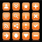 Orange glossy icon white basic sign square button black background