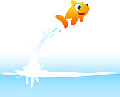 Orange Goldfish Fish Jumping Out of the Water