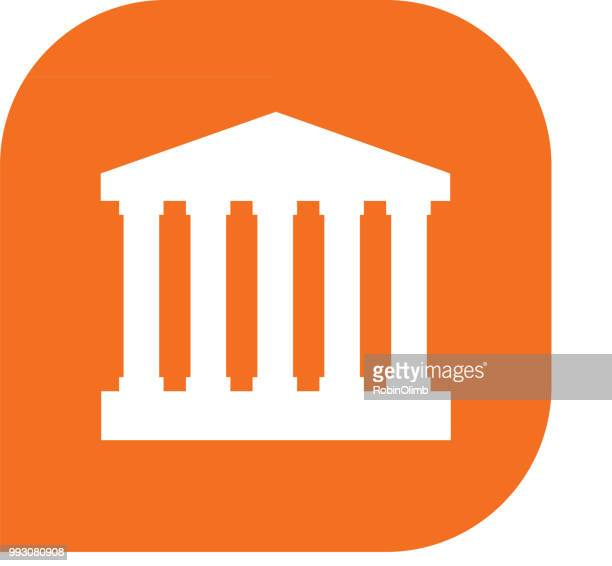 orange government building icon - wall street stock illustrations