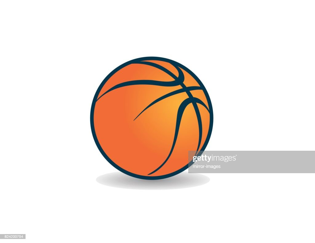 Orange graphic icon vector art basketball with shadow,  style