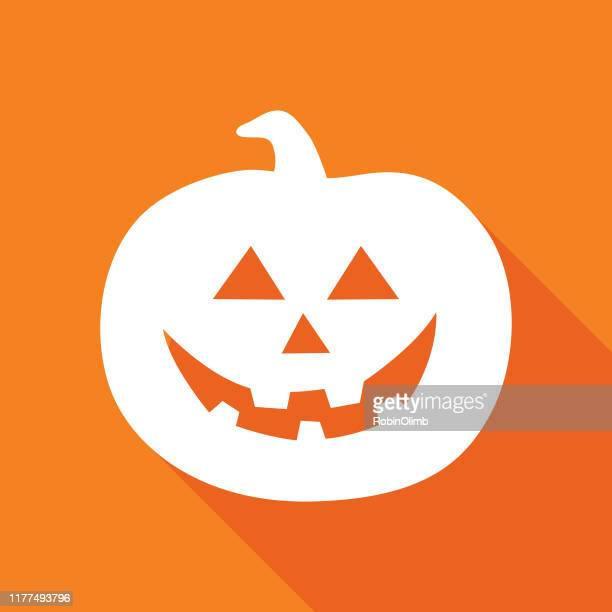 orange halloween pumpkin icon - jack o' lantern stock illustrations