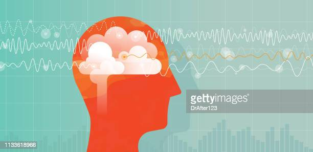 orange head and brain waves - entspannung stock-grafiken, -clipart, -cartoons und -symbole