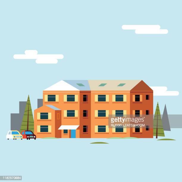 illustrations, cliparts, dessins animés et icônes de maison orange - maison de retraite
