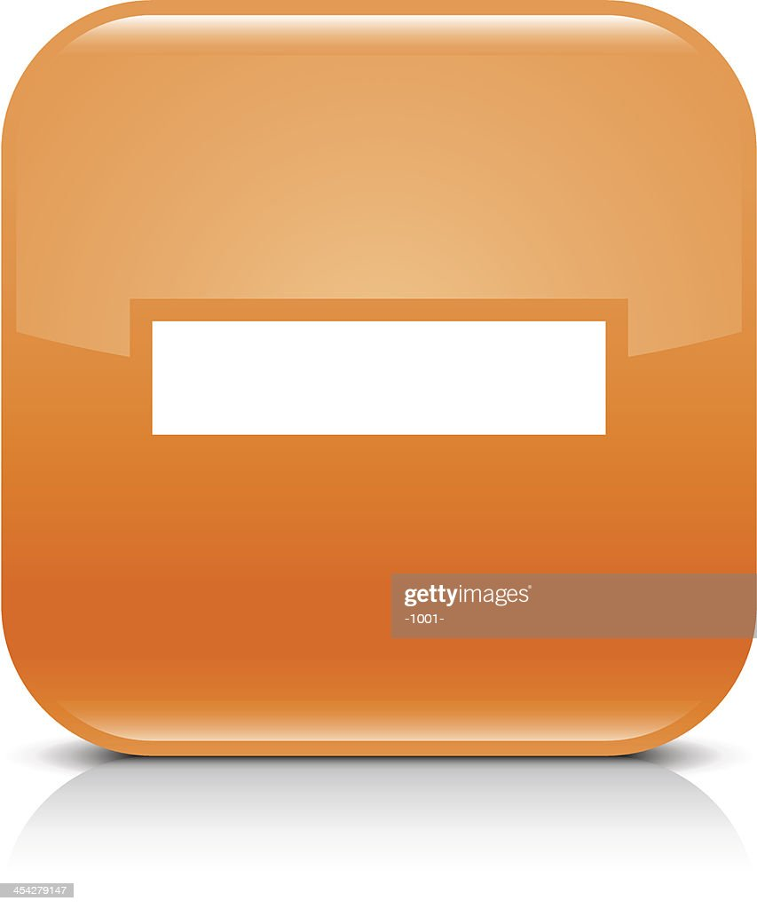 Orange icon minus sign glossy rounded square web button
