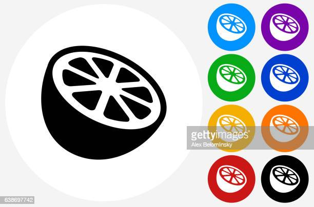 Orange Icon on Flat Color Circle Buttons