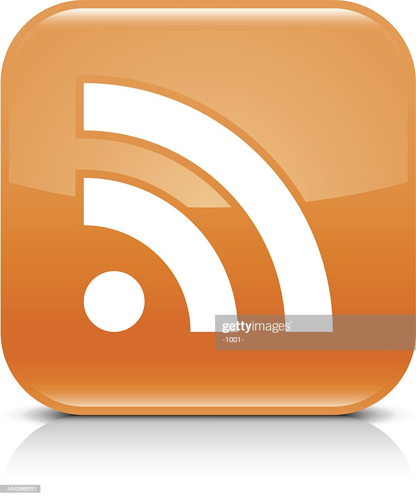 Orange icon RSS sign glossy rounded square web button