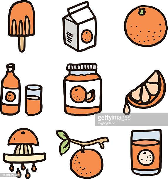 orange icon set - marmalade stock illustrations, clip art, cartoons, & icons