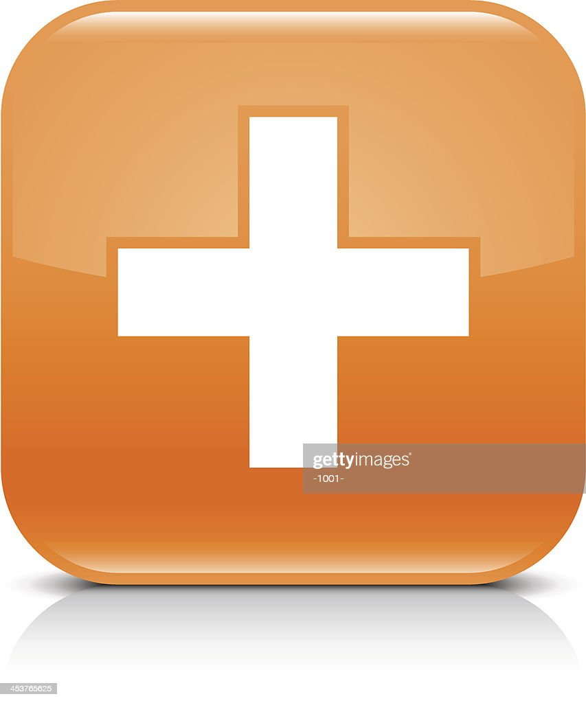Orange icon share plus sign glossy rounded square web button
