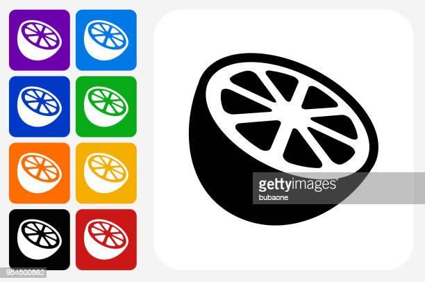 Orange Icon Square Button Set