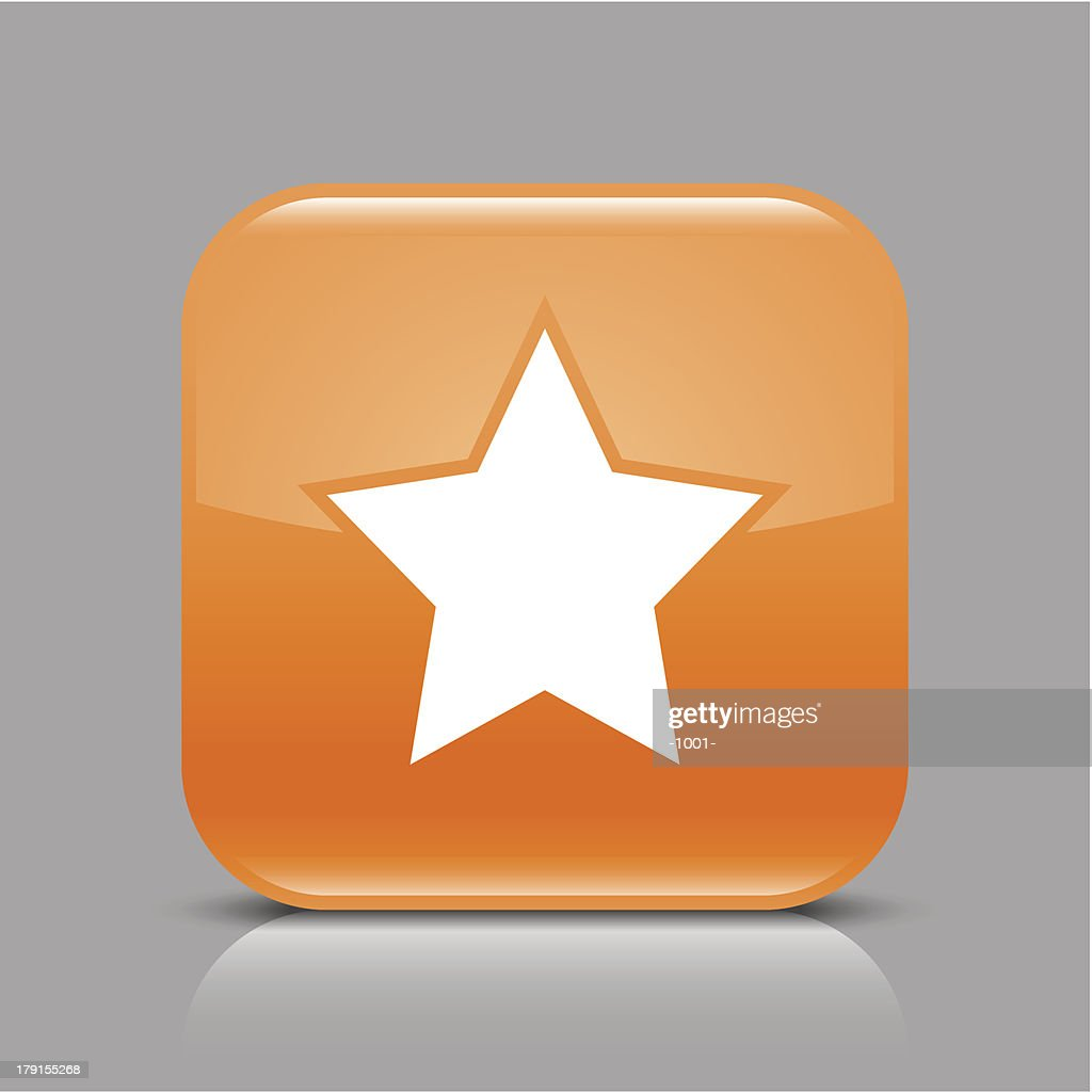 Orange icon star sign glossy rounded square web button