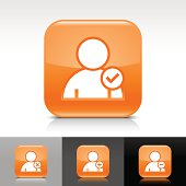 Orange icon user sign glossy rounded square web button