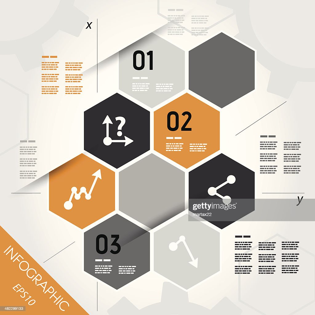 orange infographic hexagons with axis